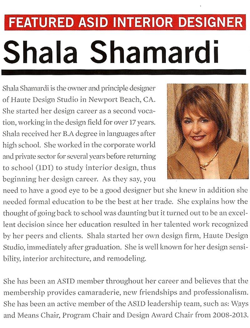Shala Shamardi Interior Designer Newport Beach And Orange County